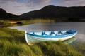 Картинка горы, озеро, лодка