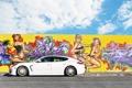 Картинка белый, небо, облака, граффити, Porsche, Panamera, порше