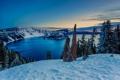 Картинка Crater Lake, пейзаж, зима, снег, Sunrise, озеро