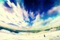 Картинка небо, облака, горы, котенок, аниме, горизонт, neko