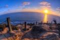 Картинка море, пейзаж, закат, забор