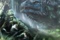 Картинка лес, животные, монстр, зверьки, голова, арт, ящер