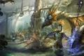 Картинка магия, Девушка, драконы, духи, посох, водопады, волшебница