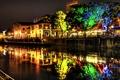 Картинка ночь, город, огни, канал
