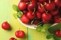 Картинка ягоды, красные, мята, вишни