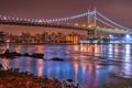 Картинка ночь, мост, город, огни, река, США