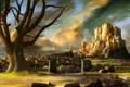 Картинка дорога, пейзаж, тучи, город, замок, дерево, крепость