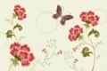 Картинка бабочка, фон, Цветы