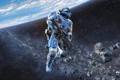 Картинка космос, планета, скафандр, солдат, пояс, винтовка, Shattered Horizon