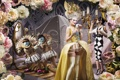 Картинка цветы, платье, карсет, причёска, принцесса, мода, карлики