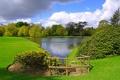 Картинка природа, пруд, парк, фото, газон, Англия, Leeds Castle