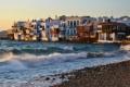 Картинка фото, волны, море, город, побережье, Mykonos, прибой