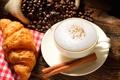 Картинка кофе, зерна, палочка, корица, капучино, десерт, выпечка