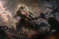 Картинка demon, lion, chain, sword, warrior