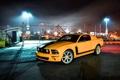 Картинка ночь, жёлтый, Mustang, Ford, ограждение, Форд, фонари