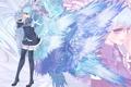 Картинка девушка, крылья, vocaloid, hatsune miku, жест, вокалоид, art