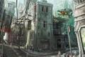 Картинка город, будущее, люди, улица, провода, корабль
