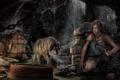 Картинка девушка, волк, Tomb Raider, красотка, пищера