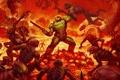 Картинка DooM, огонь, герой, солдат, броня, черти, твари