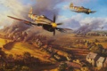 Картинка поле боя, небо, дома, самолет, танк, дым, атака