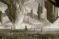 Картинка город, здания, сооружения, арт, башни, летающие