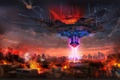 Картинка город, огонь, корабль, здания, луч, арт, разрушение