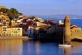 Картинка море, побережье, Франция, дома, яхта, Collioure