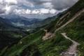 Картинка дорога, зелень, пейзаж, природа, гора