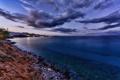 Картинка закат, облака, горизонт, Crete, вечер, огни, город