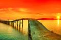 Картинка закат, мост, красное, Панорама