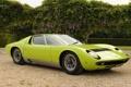 Картинка фары, Lamborghini, 1969, зелёный, суперкар, кусты, передок