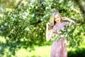 Картинка деревья, цветы, лицо, женщина, весна, боке
