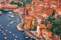 Картинка крыша, деревья, дома, бухта, яхты, лодки, стоянка