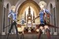 Картинка оружие, девушки, кресты, храм, мушкетеры