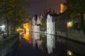 Картинка ночь, мост, огни, дома, канал, Бельгия, Брюгге