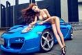 Картинка gold, porsche, Asian, legs, blue car, gold bikini