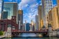 Картинка мост, река, дома, небоскребы, утро, Chicago, ILLINOIS