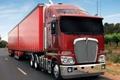 Картинка дорога, небо, красный, грузовик, тягачь, передок, truck