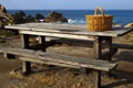 Картинка море, пейзаж, природа, стол, корзина, вид, пикник