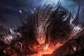 Картинка fire, mountain, creature, flakes