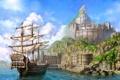 Картинка море, облака, корабль, арт, lineage 2, chronicle 4