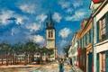 Картинка небо, облака, деревья, пейзаж, город, улица, дома