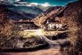 Картинка пейзаж, горы, дом, двор