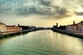 Картинка небо, город, река, обои, дома. мост