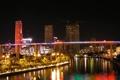 Картинка ночь, мост, город, дома, высотки, пальмы., майями