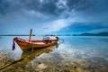 Картинка пляж, небо, тучи, океан, лодка, Phuket, Thailand