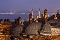 Картинка ночь, огни, пролив, собор, мечеть, Стамбул, Турция