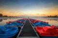 Картинка пейзаж, мост, озеро, лодки, стиль