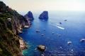 Картинка берег, Италия, катера, огромные, пароходы, захватывающие дух скалы, выступающие из глубин моря