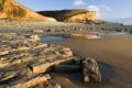 Картинка песок, пейзаж, камни, скалы, отлив